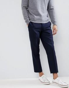 Узкие укороченные брюки из смесовой шерсти Farah - Темно-синий