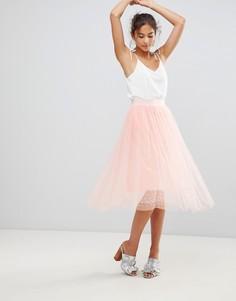 Юбка миди из тюля с отделкой бусинами New Look - Розовый