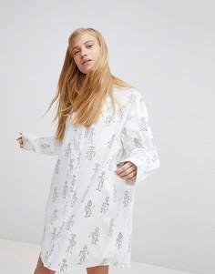 Платье-рубашка с принтом Monki - Белый