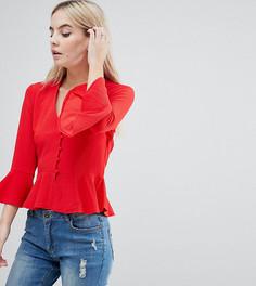 Блузка с баской и пуговицами Missguided Petite - Красный