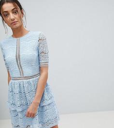 Ярусное платье мини из кружева Missguided Tall - Синий