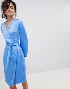 Платье в горошек с запахом Gestuz - Синий