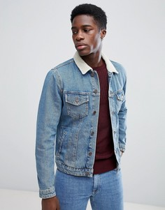 Джинсовая куртка с воротником из искусственного меха Jack & Jones - Синий