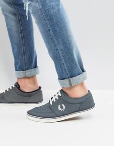 Синие парусиновые кроссовки с принтом Fred Perry Stratford - Синий