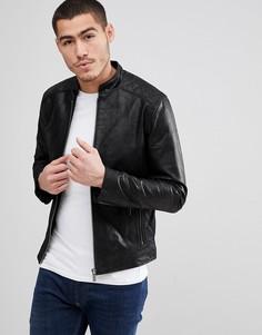 Кожаная куртка со стеганой отделкой Solid - Черный