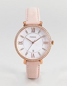 Часы 36 мм с розовым кожаным ремешком Fossil ES4303 Jacqueline - Розовый