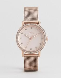 Розово-золотистые часы 34 мм с сетчатым браслетом Fossil ES4364 Neely - Золотой