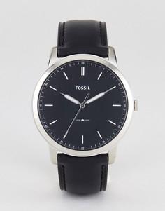 Часы с черным кожаным ремешком Fossil FS5398 Minimalist - 44 мм - Черный