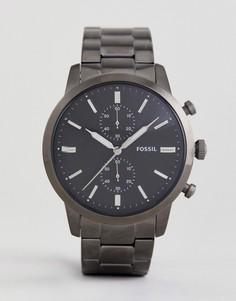 Часы-браслет 44 мм цвета пушечной бронзы с хронографом Fossil FS5349 Townsman - Серебряный