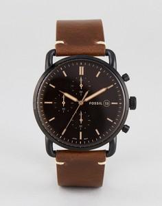 Часы с коричневым кожаным ремешком и хронографом Fossil FS5403 Commuter - 42 мм - Коричневый