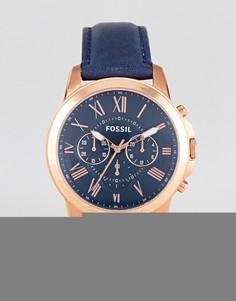 Часы с хронографом и темно-синим кожаным ремешком Fossil FS4835 Grant - Синий