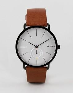 Часы со светло-коричневым кожаным ремешком Skagen SKW6216 Hagen - Рыжий
