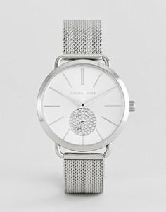 Серебристые часы с сетчатым браслетом Michael Kors MK3843 Portia - 37 мм - Серебряный