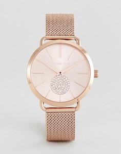 Розово-золотистые часы 37 мм с сетчатым браслетом Michael Kors MK3845 Portia - Золотой
