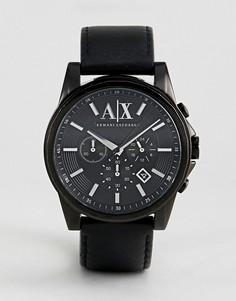 Часы с хронографом и черным кожаным ремешком Armani Exchange AX2098 - Черный