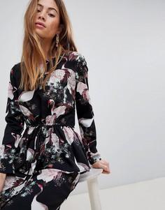 Платье с принтом птиц Vila - Черный