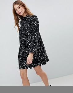 Платье-рубашка мини в горошек с длинными рукавами ASOS DESIGN - Черный