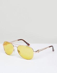 Солнцезащитные очки-авиаторы с желтыми стеклами River Island - Желтый