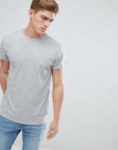 Серая меланжевая футболка с отворотами на рукавах New Look - Серый