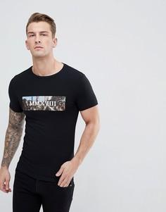 Облегающая футболка с принтом ASOS DESIGN - Черный