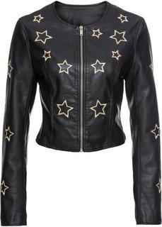 Куртка из искусственной кожи со звездами (черный) Bonprix