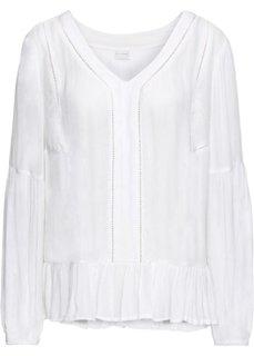 Блузка с воланами (белый) Bonprix