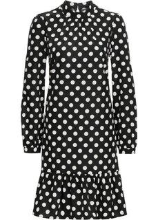 Платье с воротником-стойкой (черный в горошек) Bonprix