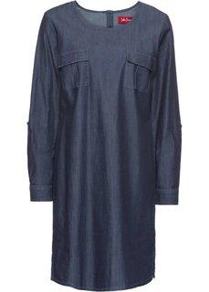 Платье джинсовое с длинным рукавом (темно-синий) Bonprix