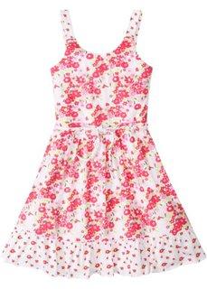 Платье с воланом (белый/розовый с рисунком) Bonprix