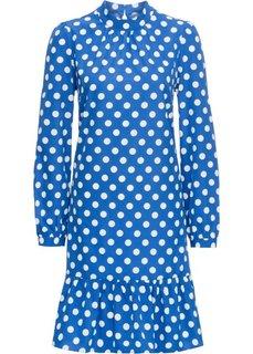 Платье с воротником-стойкой (синий в горошек) Bonprix