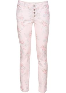 Брюки-дудочки с цветочным принтом (нежно-розовый в цветочек) Bonprix