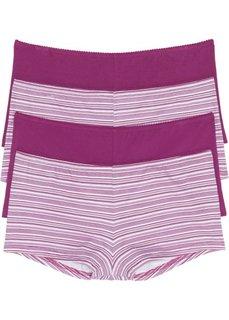 Трусики-френч (4 шт.) (розовый в полоску) Bonprix