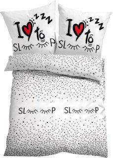 Постельное белье Спокойной ночи, линон (белый/черный) Bonprix