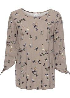 Блузка (серо-коричневый с принтом бабочек) Bonprix
