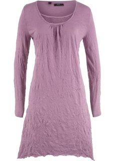 Платье с длинным рукавом из жатого материала (темно-сиреневый) Bonprix