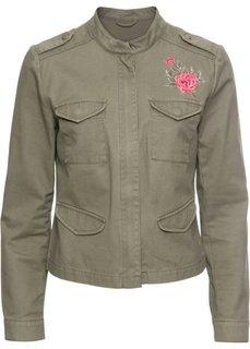 Куртка с вышивкой (оливковый) Bonprix