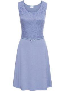 Трикотажное платье с кружевом (нежно-голубой) Bonprix