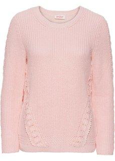 Пуловер с длинным рукавом и кружевной вставкой (розовый жемчуг) Bonprix