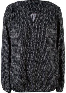 Блузка с длинным рукавом (черный с рисунком) Bonprix