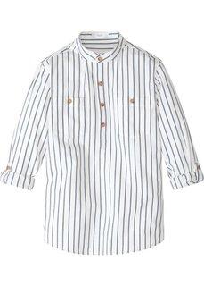 Рубашка с рукавами с отворотом (кремовый/индиго в полоску) Bonprix