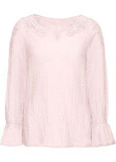 Блузка с кружевной аппликацией и воланами (розовый) Bonprix
