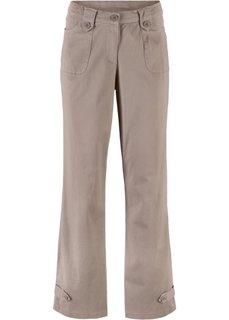 Брюки-стретч из твила, прямой покрой (серо-коричневый) Bonprix