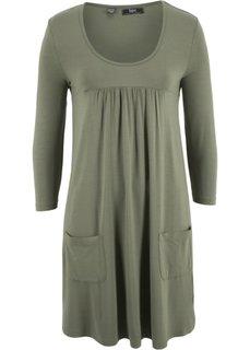 Трикотажное платье с рукавами 3/4 (оливковый) Bonprix