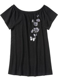 Ночная рубашка с вырезом-кармен (черный с рисунком) Bonprix