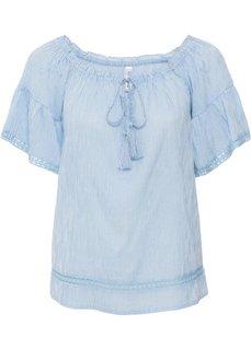 Блузка с вырезом-кармен (нежно-голубой/белый в полоску) Bonprix