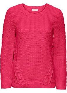 Пуловер с длинным рукавом и кружевной вставкой (ярко-розовый гибискус) Bonprix