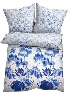 Постельное белье Кай, линон (белый/синий) Bonprix
