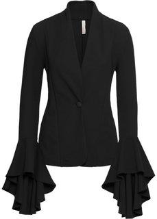 Пиджак с воланами на рукавах (черный) Bonprix