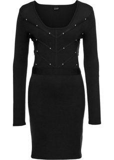 Платье вязаное с заклепками (черный) Bonprix