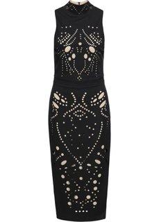 Платье ажурное (черный/бежевый) Bonprix